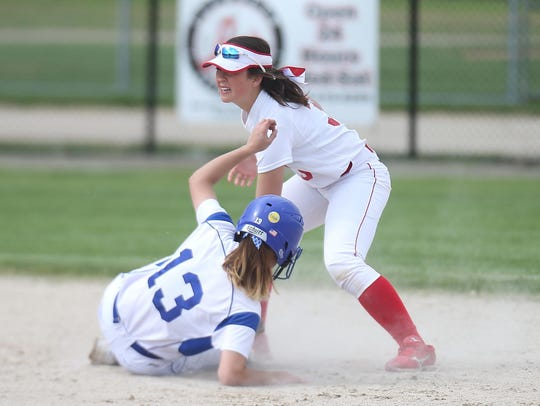 Salem's Kristin Mihalic (No. 13) slides safely into