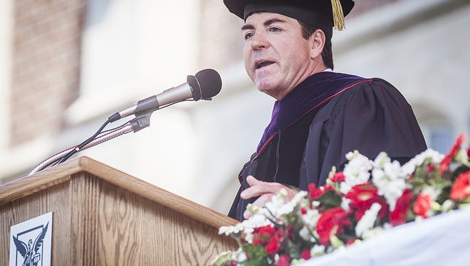 John Schnatter delivers the Ball State Spring Commencement address in 2015