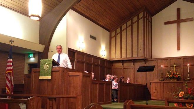 The Rev. Dan Weathersbee preaches Malesus United Methodist Church sesquicentennial service.
