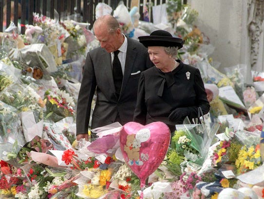 The queen and Prince Philip, view the sea of floral