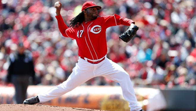Reds starting pitcher Johnny Cueto throws against the Pittsburgh Pirates at GABP.