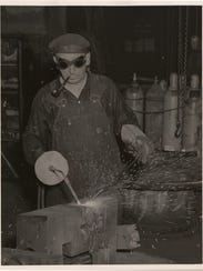 An employee works in the now-defunct Bethlehem Steel