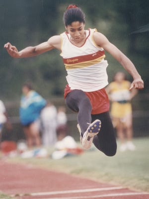 Shelly Talbert competes for Glasgow High in 1992.