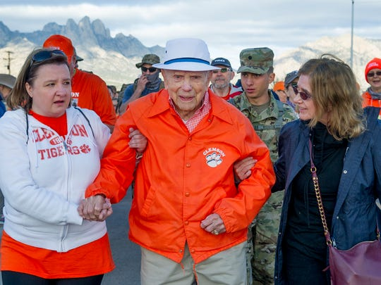 Ret. Col. Ben Skardon, 100, begins his eight-mile walk at the 29th Bataan Memorial Death March. Col. Skardon was a POW in the Bataan Death  March in World War II.