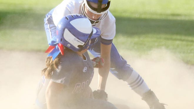 Boonville second baseman Rachel Massa applies the tag on a California player for the out Thursday night in Tri-County Conference action at Rolling Hills park. The Lady Pintos beat Boonville 13-0.