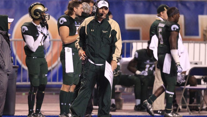 CSU coach Mike Bobo, shown on the sidelines during a loss at Boise State last season, knows the Rams have to eventually beat the Broncos to get to where they want to go as a program. The teams meet again Saturday night at CSU's new on-campus stadium.