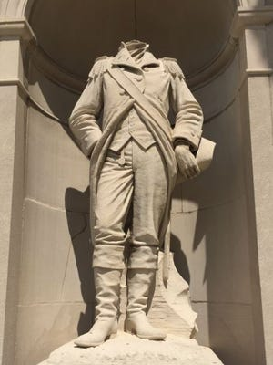 The statue of Col. William Crawford that stands outside the Crawford County Courthouse has been decapitated by vandals.