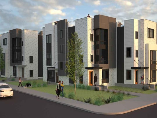 A new rendering of the town homes planned at 10th and Scovel.