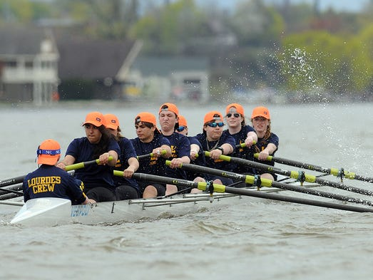 Rowers compete in Triangulars on Saturday on the Hudson River.