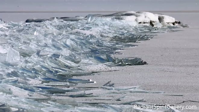 Ice shatters on Lake Superior in YouTube screengrab.