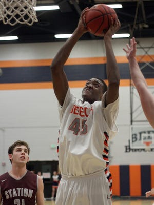 Beech's George Roberson goes up hard to the hoop against Station Camp in Hendersonville, TN on Fri. Jan. 2017.