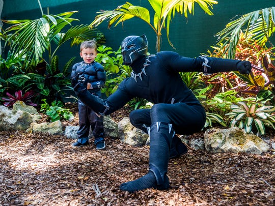Jaxon Taylor, 3, of Estero, meets Black Panther at the Naples Zoo on Sunday, July 1, 2018. Black Panther, Spider-Man and Captain America were scheduled to make appearances through Monday, July 2.