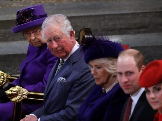 Britain's Kate, Duchess of Cambridge, Prince William, Camilla, the Duchess of Cornwall, Prince Charles and Queen Elizabeth II from foreground are seated at the Commonwealth Service at Westminster Abbey in London, Monday, March 11, 2019.