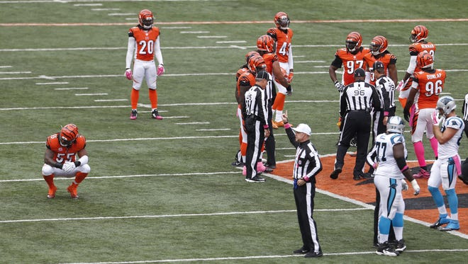 Cincinnati Bengals outside linebacker Vontaze Burfict (55). left, reacts to being called with a personal foul against the Carolina Panthers during the second quarter of their game played at Paul Brown Stadium.