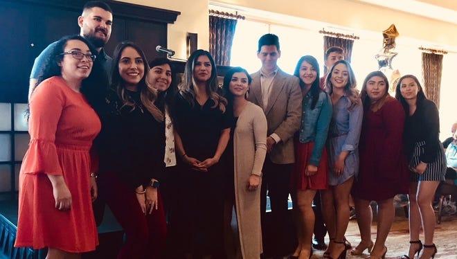 Indian Ridge Scholarship recipients who attended the luncheon. From left are students Vianey Ramos, Edgar Gonzalez, Odeth Medina, Nayelly Silva, Marilou Carranza, Stephanie Ceja, Edgar Jimenez, Kathleen Quintero, Melissa Luna, Luis Cid (standing behind Melissa), Marcella Villegas and Ashley Cardenas.