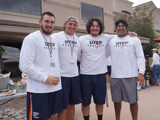 Left to right: Sterling Napier, Luke Elsner, Augie Gouris, Michael Sota, UTEP players at end of training picnic Saturday.