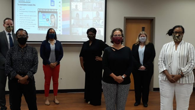 The professional learning staff of SCCPSS conducted two days of virtual orientation for new teachers earlier this week. Pictured in front, left to right: Shawn Stewart, Libby Miller and Renee Grant; in back, left to right: Corey Simmons, Tomeka Barron, Shevondra Caesar, district director of professional learning and employee development; and Stacie Pottenger.