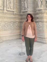 Jenna Intersimone outside of the mandir.
