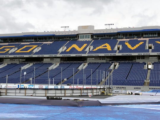 Workers finish up work on Navy–Marine Corps Memorial Stadium, Friday, March 2, 2018, in Annapolis, Md., for the outdoor NHL hockey game between the Toronto Maple Leafs and Washington Capitals. An East Coast windstorm could wreak havoc on the game night where possible wind gusts up to 26 mph could making for blustery conditions for Saturday night's game. (AP Photo/Stephen Whyno)