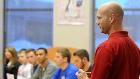 File photo of Dallas Wilkinson, who was a boys soccer coach at the time, talking during Roosevelt's national signing day celebration at Roosevelt High School in Sioux Falls, S.D., Wednesday, Feb. 4, 2015.