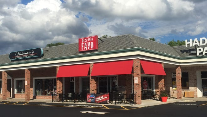 Pizzeria Favo, in Pittsford Colony, can be spotted by its red sign and awnings.