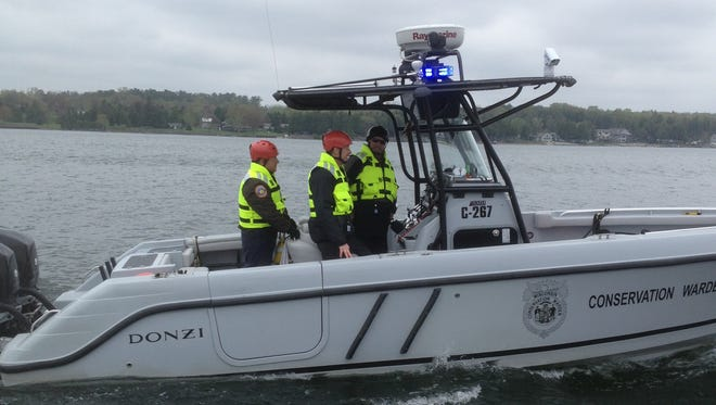 A law enforcement patrol boat during Operation Dry Water in 2016 in Door County.