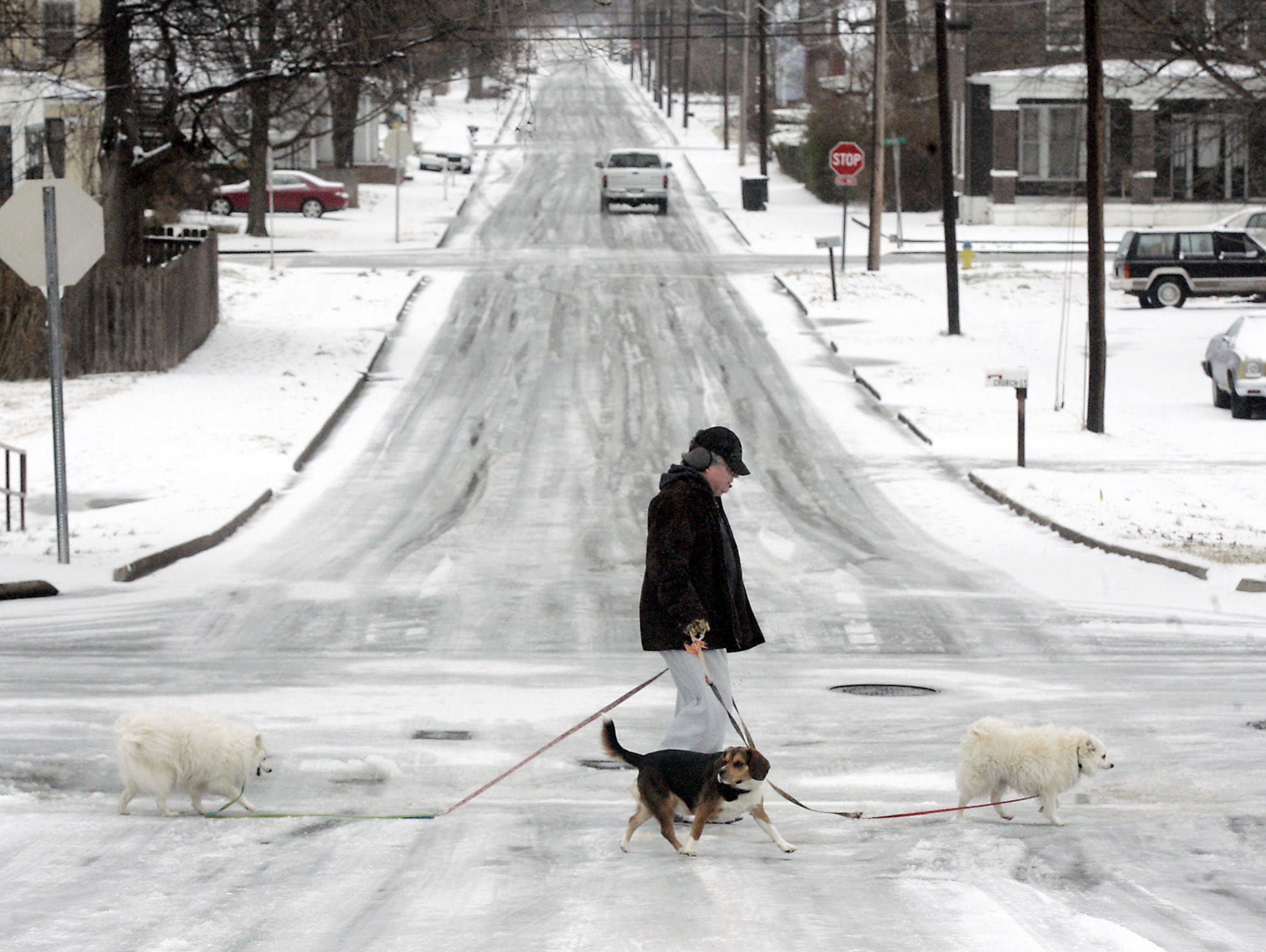 Tony Burklew walks his dogs, from left, Lola, J.R.