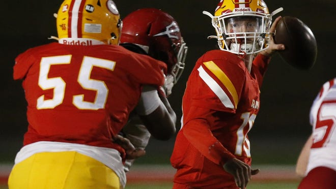 Clarke Central's William Robinson (10) looks for an open pass during an GHSA high school football game between Clarke Central and Loganville in Athens, Ga., on Friday Nov. 6, 2020. Clarke Central won 35-16.