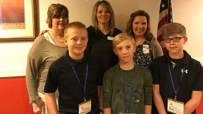 Members of the Twin Lakes Dyslexia Support Group spoke recently at the Kiwanis Club of Mountain Home's meeting. Shown are Brady Lance, front rown, Blaine Tate and Braxton Carson. Jennie Riley, back row, Dyslexia coordinator for MH Schools; June Barrow, Twin Lakes Dyslexia Support Group; and Becca Martin, EAST Facilitator at Hackler School. Kiwanis is a global organization of volunteers dedicated to changing the world one child and one community at a time. Kiwanis Club of Mountain Home meets the second and fourth Wednesdays at noon at Pizza Inn. Visit their Facebook page:  Kiwanis Club of Mountain Home or their website: http://kiwanisclubofmountainhome.org/