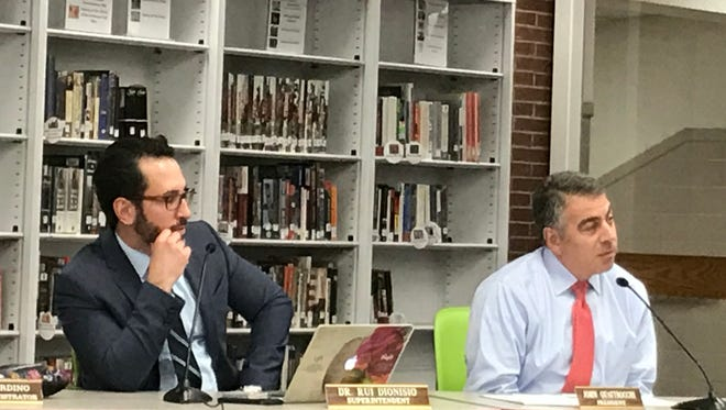 Verona Superintendent Rui Dionisio and Board of Education President John Quattrocchi listen to a curriculum presentation on Jan. 9, 2018.