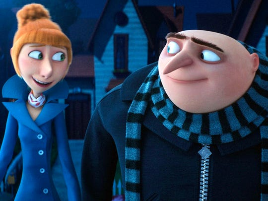 Lucy (left, voiced by Kristen Wiig) and Gru (Steve