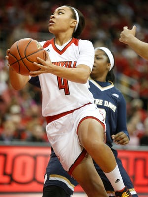 Louisville's Mariya Moore goes up for a layup against Notre Dame. Feb. 7, 2016.