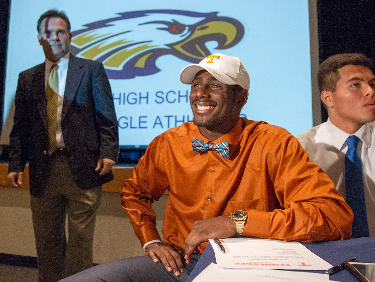 Naples High School's Tyler Byrd was among the school's athletes who signed National Letters of Intent Wednesday at the school. Byrd will play football at the University of Tennessee.