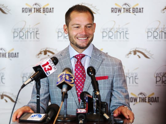 Western Michigan coach P.J. Fleck speaks during an NCAA college football press conference in Kalamazoo, Mich., on Tuesday, Nov. 29, 2016. Western Michigan takes on Ohio in the Mid-American Conference championship game on Friday in Detroit. (Bryan Bennett/Kalamazoo Gazette-MLive Media Group via AP)