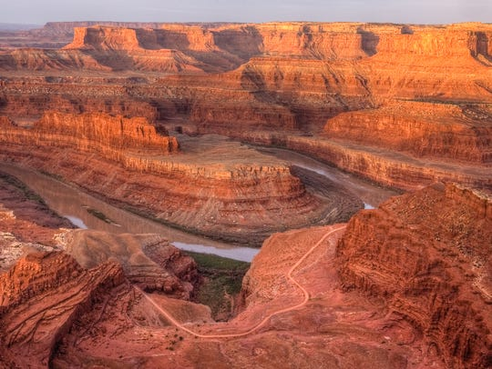View of the Colorado River at dawn from Dead Horse