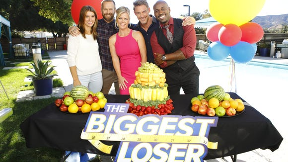 """""""The Biggest Loser 10 Year Anniversary Celebration"""" (l-r) Trainers Jennifer Widerstrom, Bob Harper, host Alison Sweeney,  trainers Jessie Pavelka and Dolvett Quince."""