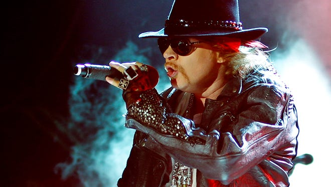 Axl Rose, lead vocalist of Guns N' Roses performing during their concert in Bangalore, India.