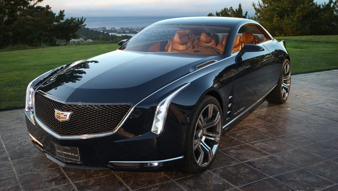 The Cadillac Elmiraj Concept at its unveiling last year at the Pebble Beach Concours d'Elegance in California. The four-seat rear-wheel drive grand coupe telegraphs front-end styling touches to appear on the brand's big flagship sedan, called CT6, coming late next year.