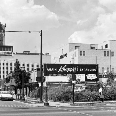 At left: In its heyday, Knapp's was in expansion mode in downtown Lansing and later at Meridian and Lansing malls.