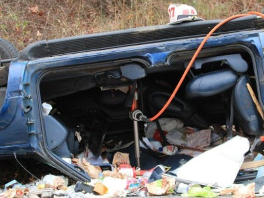 Debris was scattered on Chambersburg Road Wednesday morning following a rollover crash.