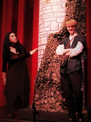 "Katelyn Rundell (Rapunzel), Josh Schull (Quinn) and Jenn Riale (Mother Gothel) star in the Endicott Performing Arts Center production of ""Rapunzel."""