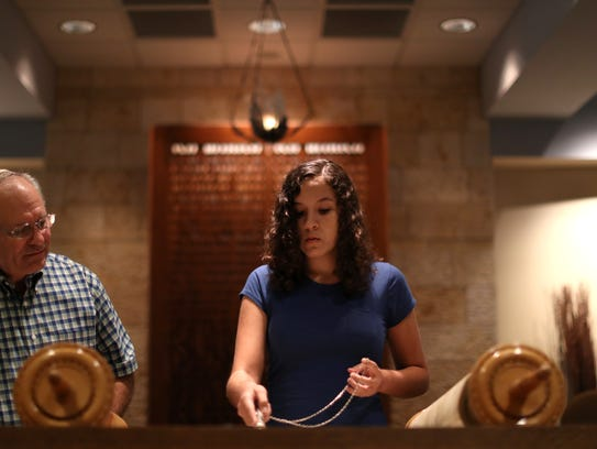 Rabbi Jack Romberg of Temple Israel helps his student