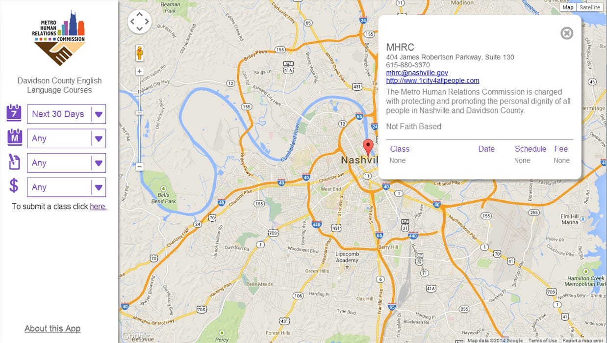 ESL map shows classes at 32 Nashville sites