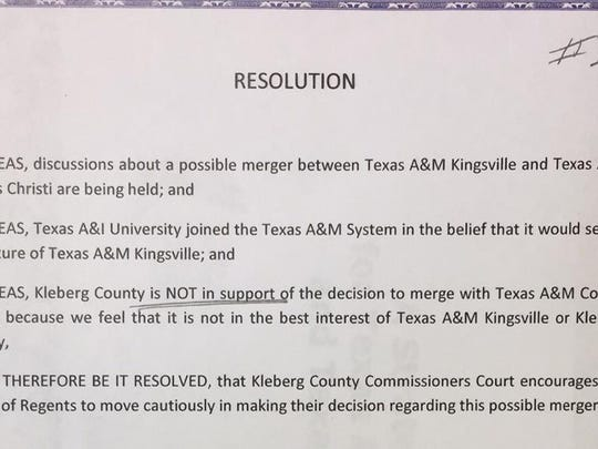 Kleberg County Commissioners took a stance against merging Texas A&M universities in Corpus Christi and Kingsville during their monthly meeting.