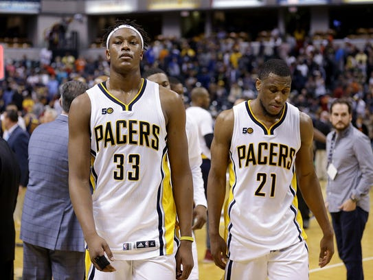Indiana Pacers Myles Turner (33) and Thaddeus Young