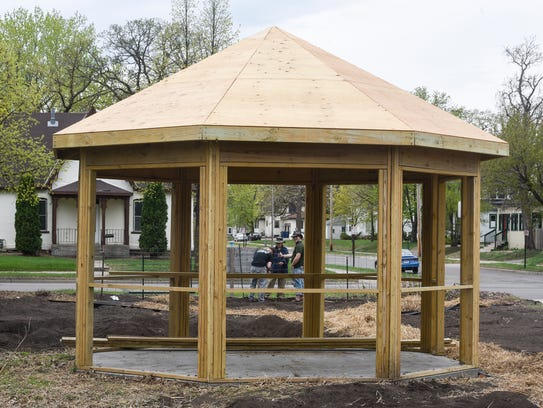 A new gazebo is in place Saturday, May 12, at the community