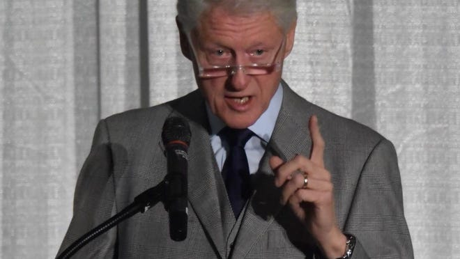 Former President Bill Clinton speaks at Michigan State University's Kellogg Center for the first Governor Jim Blanchard Public Service Forum on Wednesday, November 18, 2015.