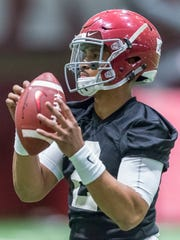 Alabama quarterback Jalen Hurts takes part in the NCAA college football team's spring practice Tuesday, March 20, 2018, in Tuscaloosa, Ala. (Vasha Hunt/AL.com via AP)