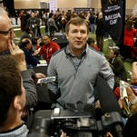Jan 9, 2016; Phoenix, AZ, USA; Alabama Crimson Tide defensive coordinator Kirby Smart answers questions at media day at Phoenix Convention Center. Mandatory Credit: Matthew Emmons-USA TODAY Sports