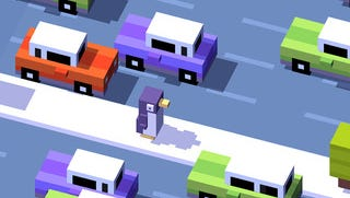 A screenshot of the mobile game Crossy Road.